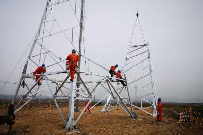 110千伏大秦家输电线路工程施工现场