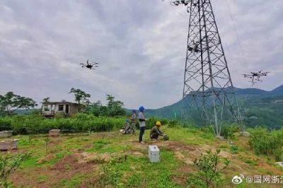 温岭市供电公司首次开展无人机协同接力作业